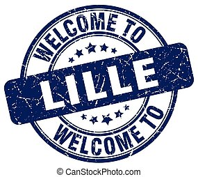 welcome to Lille blue round vintage stamp