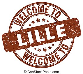 welcome to Lille brown round vintage stamp