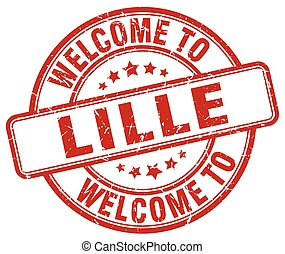 welcome to Lille red round vintage stamp