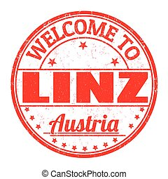 Welcome to Linz, Austria stamp