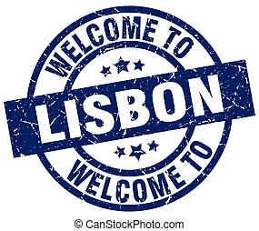 welcome to Lisbon blue stamp