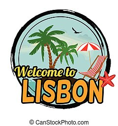 Welcome to Lisbon concept in vintage graphic style