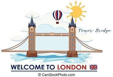 Welcome to London bridge illustration
