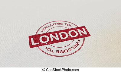 WELCOME TO LONDON wooden stamp animation. Alpha matte for...