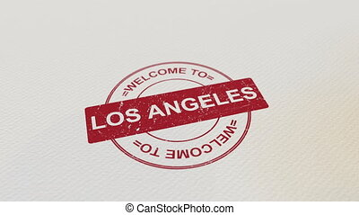WELCOME TO LOS ANGELES wooden stamp animation. Alpha matte...