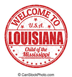 Welcome to Louisiana grunge rubber stamp on white background, vector illustration