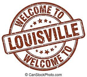welcome to Louisville brown round vintage stamp