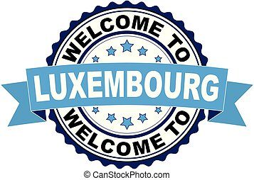 Welcome to Luxembourg blue black rubber stamp illustration vector