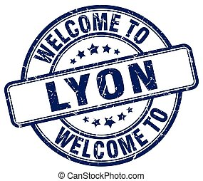 welcome to Lyon blue round vintage stamp