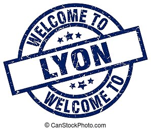 welcome to Lyon blue stamp