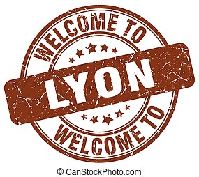 welcome to Lyon brown round vintage stamp
