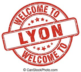 welcome to Lyon red round vintage stamp
