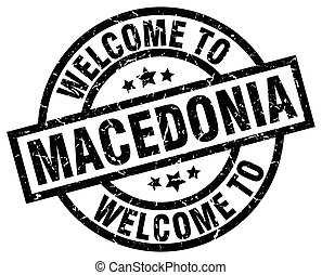 welcome to Macedonia black stamp