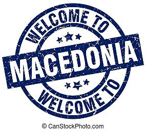 welcome to Macedonia blue stamp