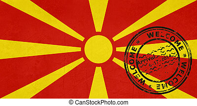 Welcome to Macedonia flag with passport stamp