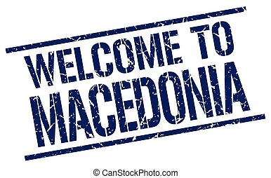 welcome to Macedonia stamp