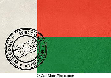 Welcome to Madagascar flag with passport stamp