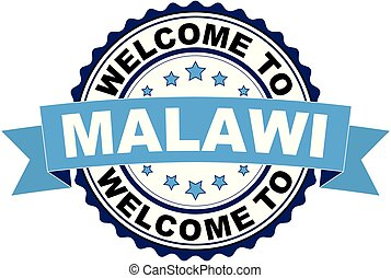 Welcome to Malawi blue black rubber stamp illustration vector