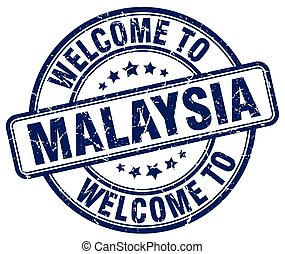 welcome to Malaysia blue round vintage stamp