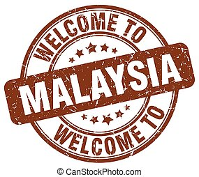 welcome to Malaysia brown round vintage stamp