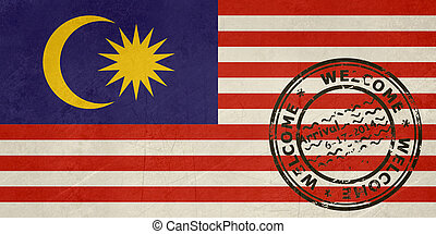 Welcome to Malaysia flag with passport stamp