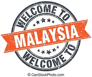 welcome to Malaysia orange round ribbon stamp