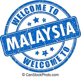 Welcome to Malaysia vector stamp