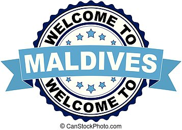 Welcome to Maldives blue black rubber stamp illustration vector