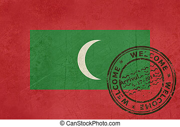 Welcome to Maldives flag with passport stamp
