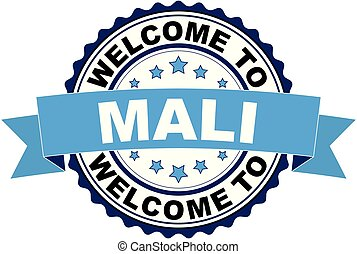 Welcome to Mali blue black rubber stamp illustration vector