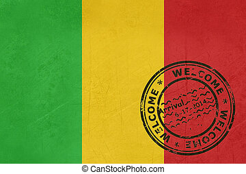 Welcome to Mali flag with passport stamp