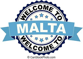 Welcome to Malta blue black rubber stamp illustration vector