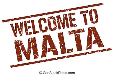 welcome to Malta stamp