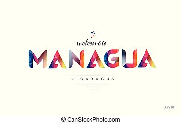 Welcome to managua nicaragua card and letter design typography icon