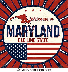 Welcome to Maryland vintage grunge poster