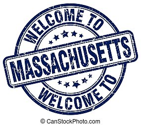 welcome to Massachusetts blue round vintage stamp