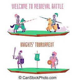 Welcome to medieval battle - cartoon knight tournament banner set