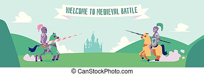 Welcome to medieval battle - flat cartoon banner of two nights in metal armor