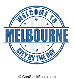 Welcome to Melbourne, City by the bay grunge rubber stamp on white, vector illustration