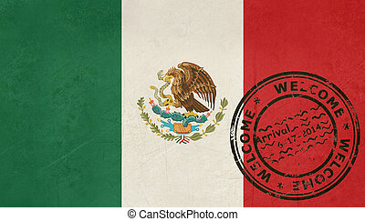 Welcome to Mexico flag with passport stamp