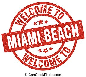 welcome to Miami Beach red stamp
