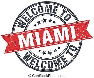 welcome to Miami red round vintage stamp