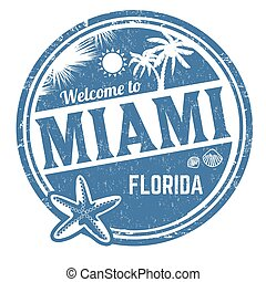 Welcome to Miami sign or stamp
