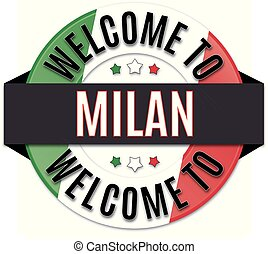 welcome to milan italy flag icon