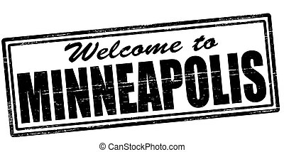 Welcome to Minneapolis - Stamp with text welcome to...