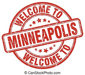 welcome to Minneapolis red round vintage stamp