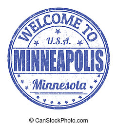 Welcome to Minneapolis grunge rubber stamp on white background, vector illustration
