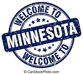 welcome to Minnesota blue round vintage stamp