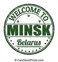 Welcome to Minsk, Belarus stamp