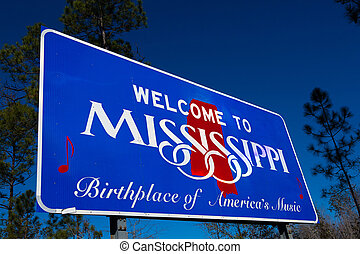 Welcome to Mississippi state Road sign - Welcome to ...